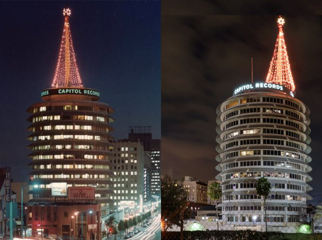 Christmastime at The Capitol Records Building
