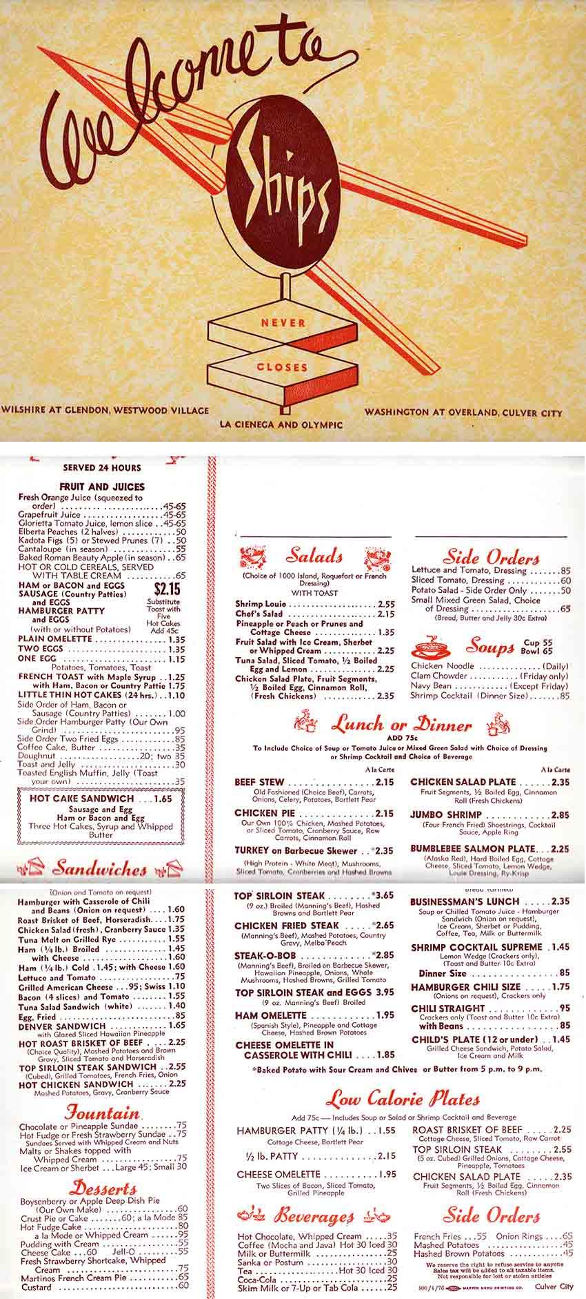 Ships menu.  Alison Martino Collection